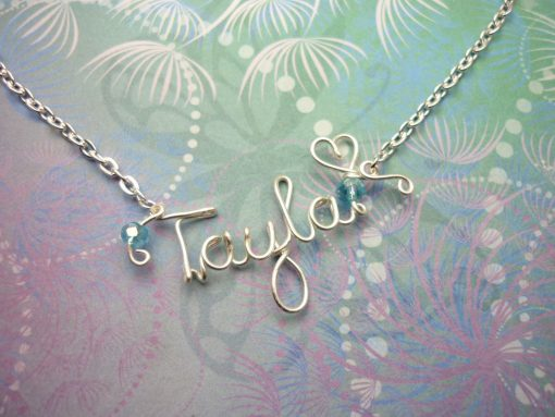 Name Necklace Non-Tarnish Silver & Crystal Beads