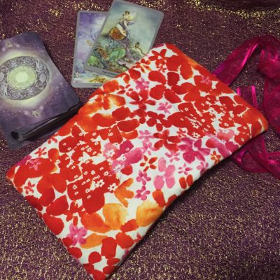 Tarot Card and Oracle Card Wrap Clutch Bag - Padded - Keepsafe - Blossoms with Pink Ribbon