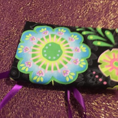 Tarot Card and Oracle Card Wrap Clutch Bag - Padded - Keepsafe - Bright Flowers with Purple Ribbon
