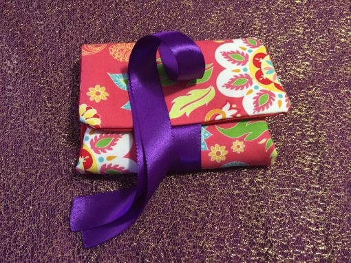 Tarot Card and Oracle Card Wrap Clutch Bag - Padded - Keepsafe - Flowers with Purple Ribbon