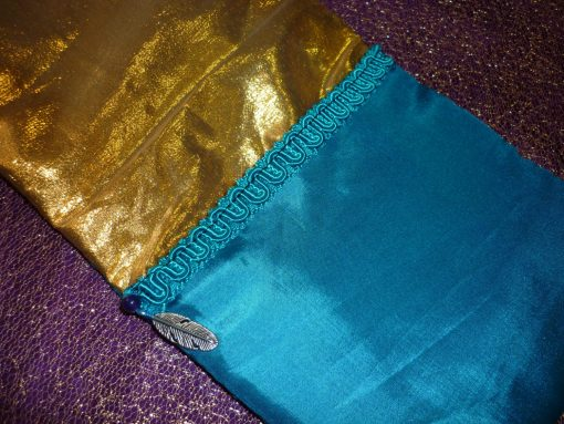 Tarot Card and Oracle Card Wrap Clutch Bag - Padded - Keepsafe - Gold and Blue