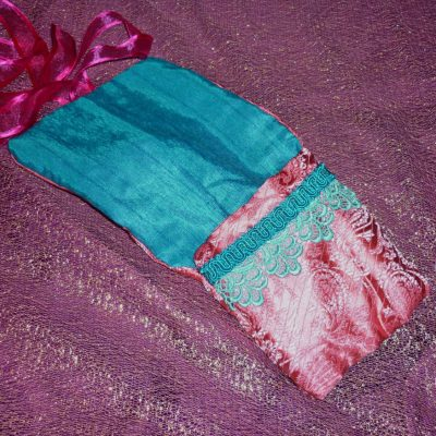 Tarot Card and Oracle Card Wrap Clutch Bag - Padded - Keepsafe - Pink and Blue