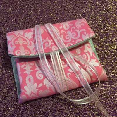 Tarot Card and Oracle Card Wrap Clutch Bag - Padded - Keepsafe - Pink & Silver with Pale Pink Ribbon