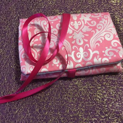 Tarot Card and Oracle Card Wrap Clutch Bag - Padded - Keepsafe - Pink & Silver with Pink Ribbon
