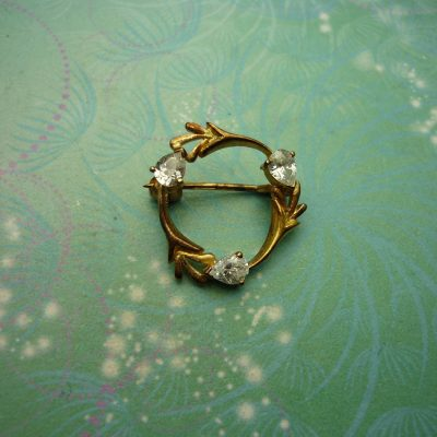 Vintage Brooch - Sterling Silver - Gold Plated Sterling Silver with CZ Jewels - Unique Gift
