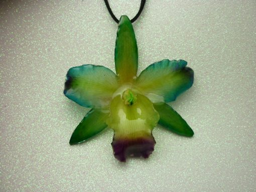Real Orchid Flower Necklace - Purple/Teal/Green/Yellow - REAL Orchid flower preserved in resin making a unique necklace