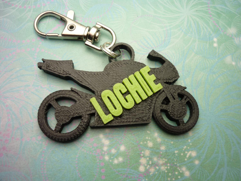 3d printed motorbike key chain school bag identity tag sparkling