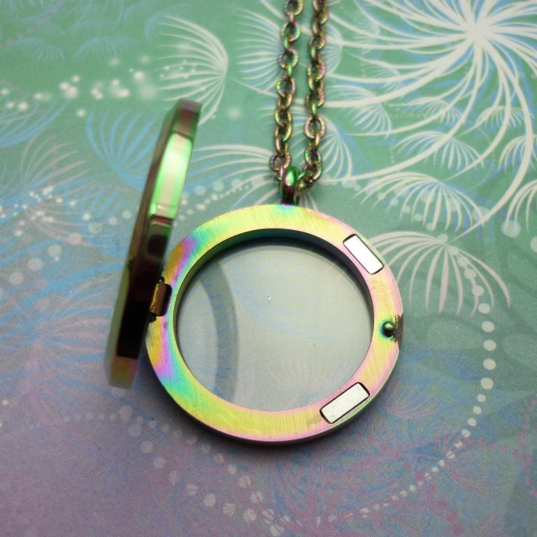 Stainless Steel Rainbow Locket Necklace Sparkling Dragon Designs