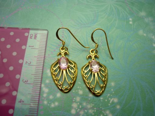Gold Plated Vintage Sterling Silver Earrings - Pink Stone