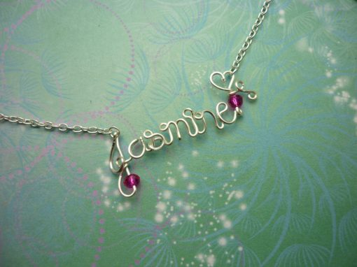 Hand Made to Order Personalized Name Necklace - Silver or Gold Colored Wire and Beads