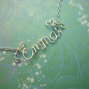Handmade Personalised Wire Name Necklace - Birthstones - Non-Tarnish Silver & Crystal Beads - Bridesmaids Gifts