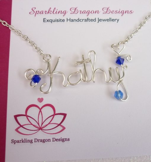 Handmade Personalised Wire Name/Word Necklace Non-Tarnish Silver & Crystal Beads