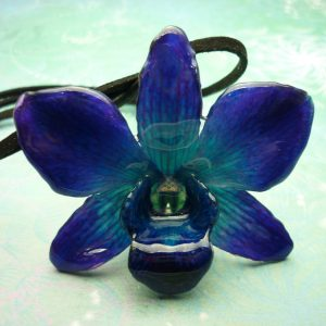 NOT QUITE PERFECT Real Orchid Flower Necklace - Cobalt Blue - has a crack which has been repaired