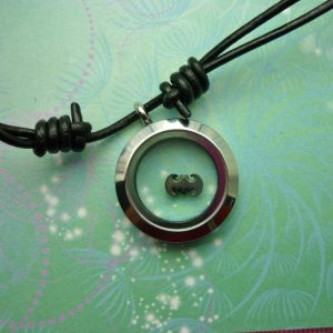 Stainless Steel Locket Pendant on Black Leather Necklace with  Floating Batman Charm