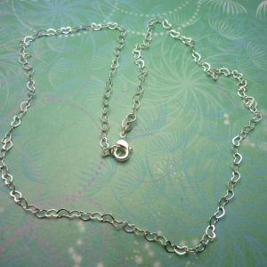 """Sterling Silver Heart Link Chain 18"""""""