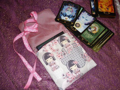 Tarot Card and Oracle Card Wrap Clutch Bag - Padded - Keepsafe - Cherry Blossom Geisha
