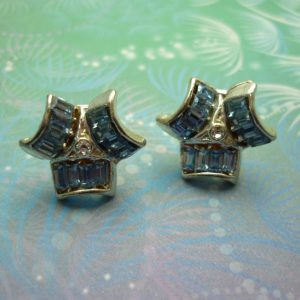 Vintage Blue Emerald Cut Crystals Earrings