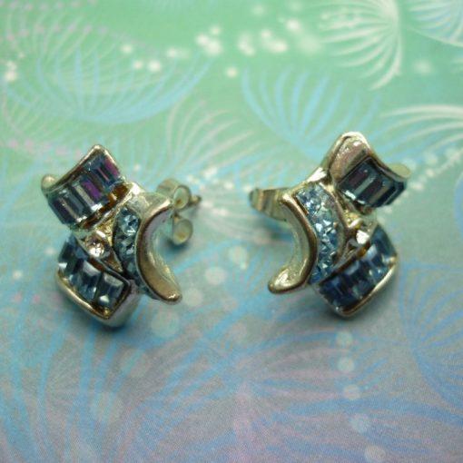 Vintage Blue Emerald Cut Crystals Earrings