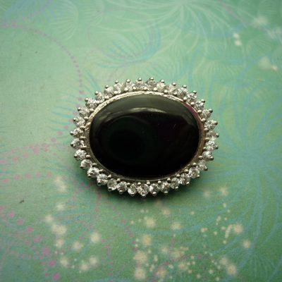 Vintage Brooch - Sterling Silver  - Black Onyx - Sparkling Crystals - Vintage Brooch - Unique Gift