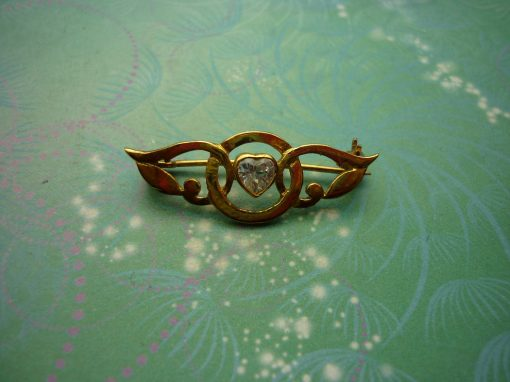 Vintage Brooch - Sterling Silver - Gold Plated Sterling Silver with CZ Jewel - Unique Gift