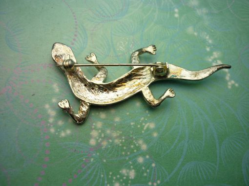 Vintage Brooch - Sterling Silver  - Lizard - Marcasites - Vintage Brooch - Unique Gift - Animal Jewelry