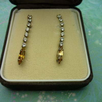Vintage Crystal Earrings - Amber