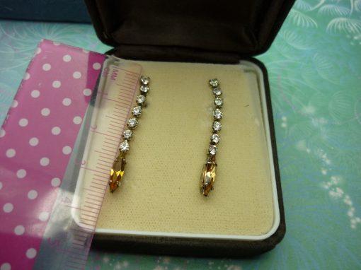 Vintage Crystal Earrings - Amber