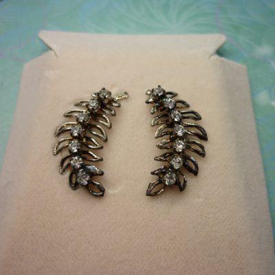 Vintage Crystal Earrings - Fern Leaves