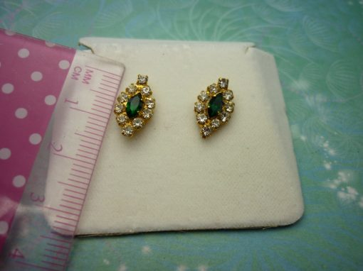 Vintage Crystal Earrings - Green Crystals