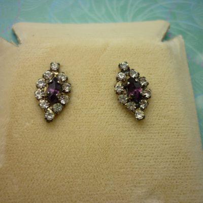 Vintage Crystal Earrings - Purple