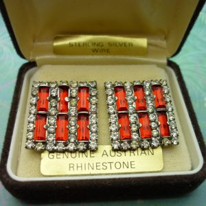 Vintage Crystal Earrings - Red Austrian Rhinestones