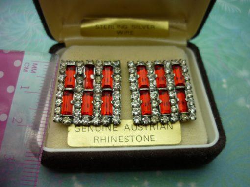 Vintage Crystal Earrings - Red Austrian Rhinestones
