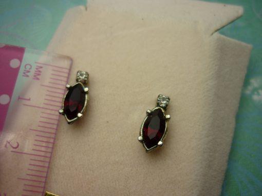 Vintage Crystal Earrings - Red Jewel