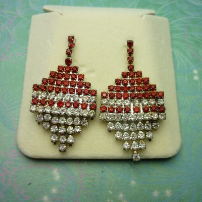 Vintage Crystal Earrings - Red Sparkling
