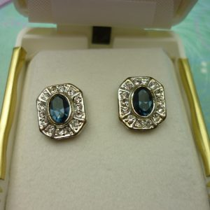 Vintage Crystal Earrings - Sapphire Blue