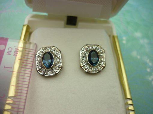 Vintage Crystal Earrings - Sapphire Blue