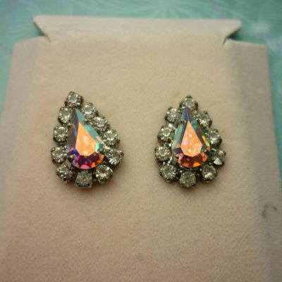 Vintage Crystal Earrings - Tear Drop AB Crystals