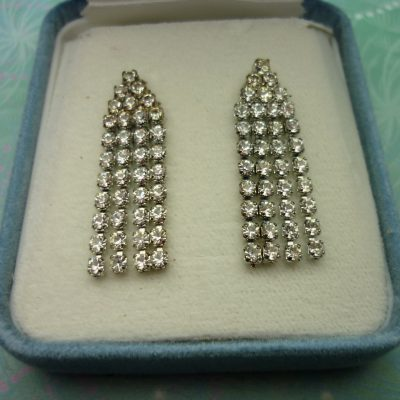 Vintage Crystal Silver Earrings - Clear