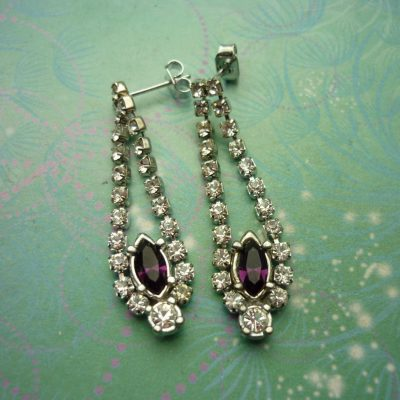 Vintage Crystal Silver Earrings - Purple