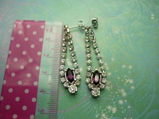 Vintage Crystal Silver Earrings - Purple