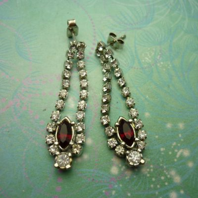 Vintage Crystal Silver Earrings - Red