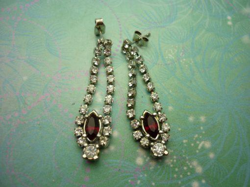 Vintage Crystal Silver Earrings - Red