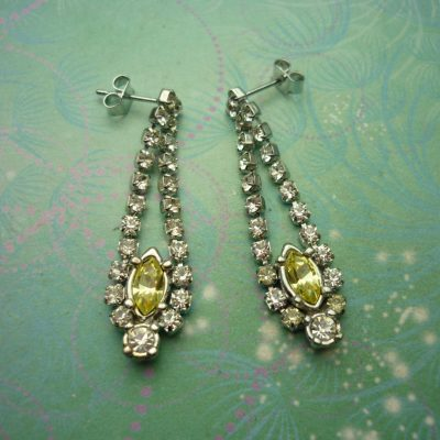 Vintage Crystal Silver Earrings - Yellow
