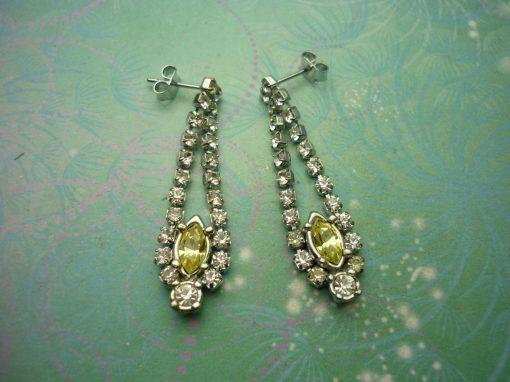Vintage Crystal Silver Earrings - Yellow