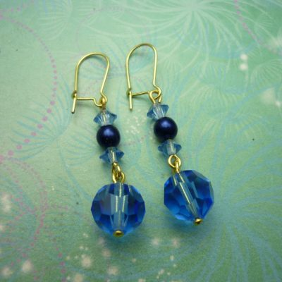 Vintage Earrings - Blue Glass Beads
