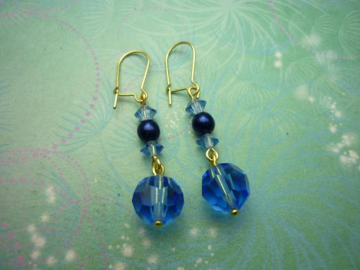 Vintage Earrings - Blue Glass Beads