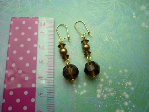 Vintage Earrings - gold plated, smoke coloured glass beads