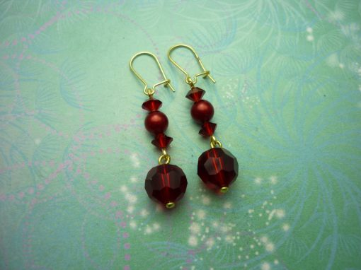 Vintage Earrings - Red Glass Beads