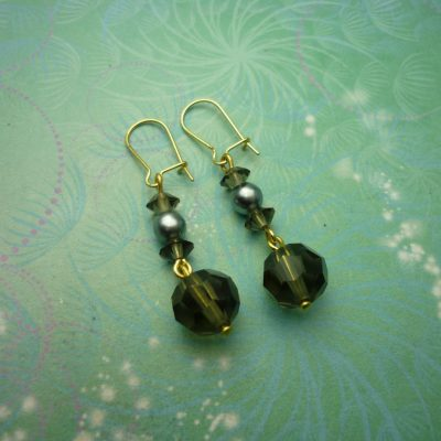 Vintage Earrings - Smokey Glass Beads