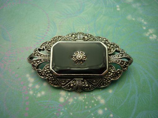 Vintage Elegance Brooch - Vintage Brooch - Marcasite - Unique Gift - Mothers Day Gift - Marcasite Brooch - Enamel Brooch